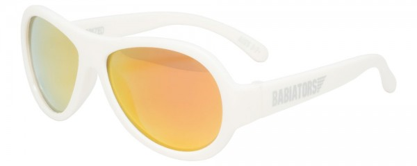 Wicked White with mirrored orange lenses Polarised Babiators kids sunglasses in case
