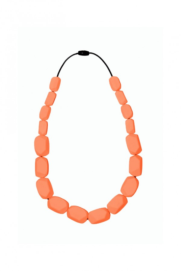 Nibbly Bits Wilma Rocks Silicon Necklace - Salmon